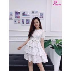 Đầm xoè tầng chấm bi dễ thương