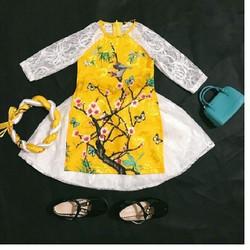 áo dài cách tân - Bộ áo dài cách tân cho bé màu vàng thời trang