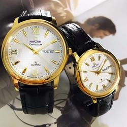 Đồng hồ cặp dây da giá rẻ tại hcm C-OM1287-SG