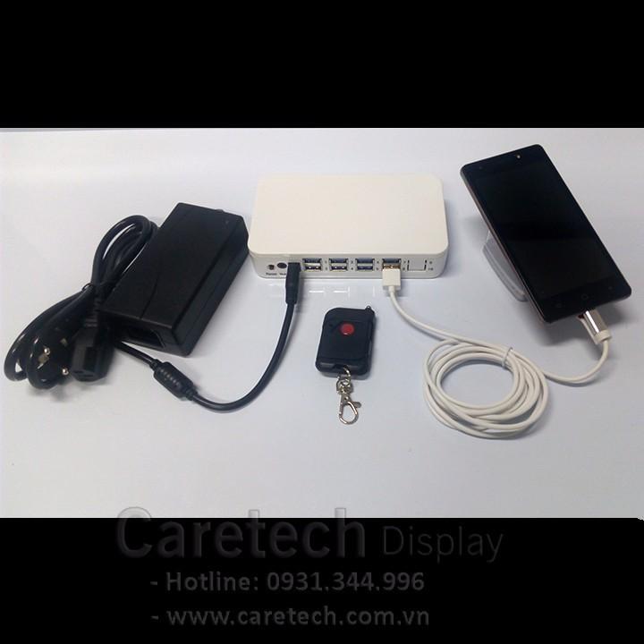 Bộ chống trộm trưng bày điện thoại, máy tính bảng, tablet, ipap 8 cổng 1