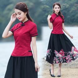 set áo đỏ tàu nhung nổi + váy dài