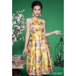 Đầm xoè 2 dây hoa