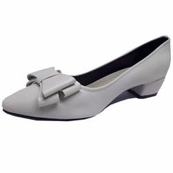 Giày cao gót đế vuông màu kem đính nơ thời trang