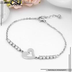 Lắc - vòng tay inox nữ hình trái tim cực xinh xắn giá rẻ không đen