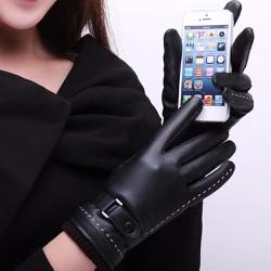Găng Tay Da Nữ Lót Nỉ Dùng Cảm Ứng Smart Phone - Free Size