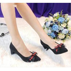 Giày cao gót búp bê nơ xếp ĐEN