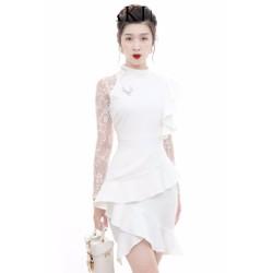 Đầm ôm body kiểu cổ lọ phối ren sang trọng