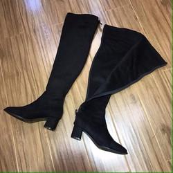 Giày boot nữ da lộn kéo khóa sau
