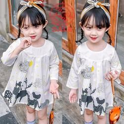 Váy tay dài hình thú xinh xắn bé gái