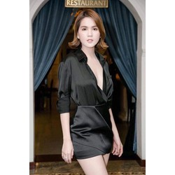 Áo váy kiểu áo sơ mi tay dài váy ngắn
