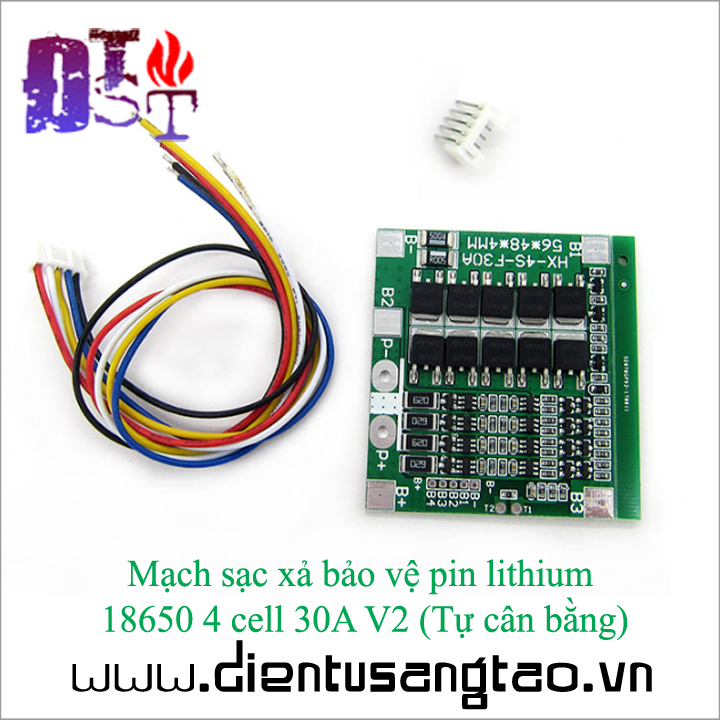Mạch sạc xả bảo vệ pin lithium  18650 4 cell 30A V2  Tự cân bằng 1