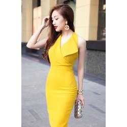 Đầm body vàng sexy hở lưng