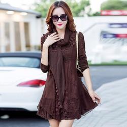 Đầm suông len kèm khăn choàng DS200325 - Hàng nhập loại 1
