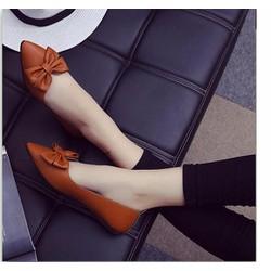 Giày búp bê đế bệt màu nâu bò