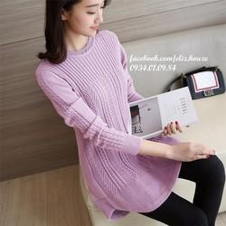 Đầm len cổ tròn dáng xòe Hàn Quốc