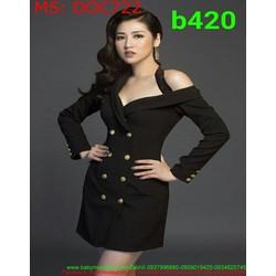 Đầm ôm body dự tiệc khoét vai dài tay đính nút thời trang DOC722