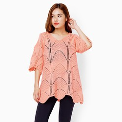Áo len from dài màu hồng đào
