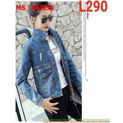 Áo khoác jean nữ giả túi rách nhẹ phong cách cá tính AKJ190