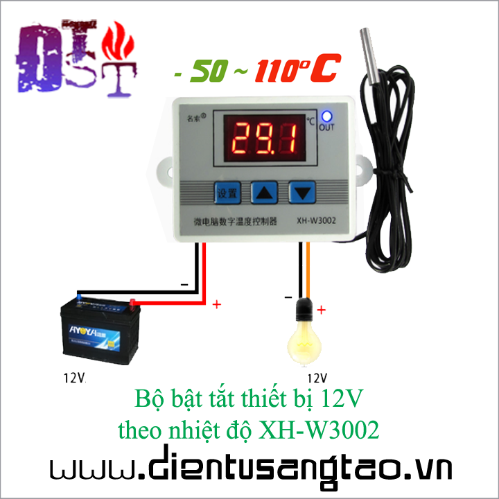 Bộ bật tắt thiết bị 12V  theo nhiệt độ XH-W3002 1