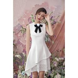 Đầm xòe trắng phối ren dự tiệc