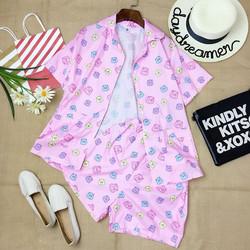 Set đồ bộ hoạ tiết gấu áo pyjama tay lỡ và quần sooc