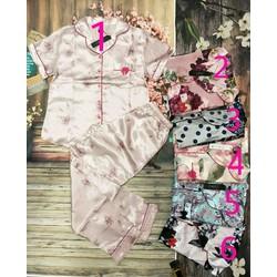Đồ bộ Pijama vải phi bóng họa tiết hoa quần dài tay ngắn