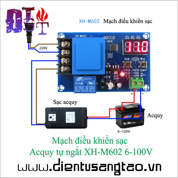 Mạch điều khiển sạc  Acquy tự ngắt XH-M602 6-100V 1