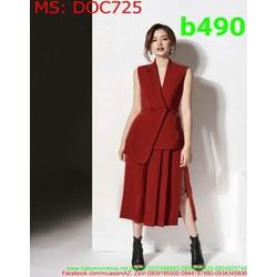 Đầm ôm body dự tiệc dạng vest và xẻ đùi màu đỏ sang trọng DOC725
