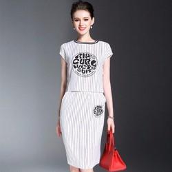 Set bộ áo chân váy áo sọc trắng DNT596