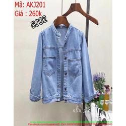 Áo khoác jean nữ kiểu đơn giản thiết kế túi to xinh xắn AKJ201