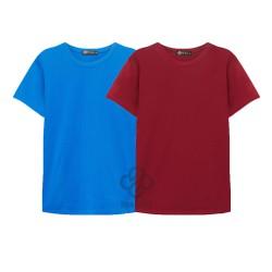 bộ 2 áo thun trơn cotton nam, nữ giá sĩ đỏ đô, xanh da