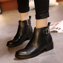 Boot nữ cổ ngắn da bóng đi bộ