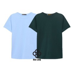 Bộ 2 áo thun trơn cotton nam, nữ giá sĩ xanh biển, ve chai