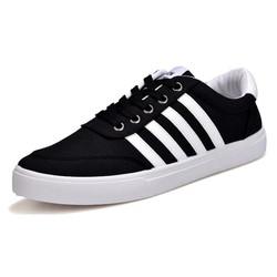 Giày Sneaker nam-Giày vải nam màu đen kẻ sọc trắng, giày đẹp rẻ