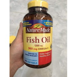 Viên uống Nature Made Fish Oil 1200mg 360mg Omega 3 200 viên