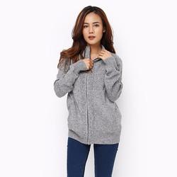 Áo khoác len nữ tay dài phối túi màu xám
