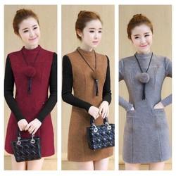 Đầm Suông Phối Tay Len Hot- d8335