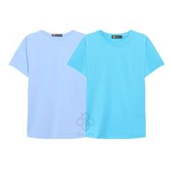 Bộ 2 áo thun trơn cotton nam, nữ giá sĩ xanh biển, thiên thanh