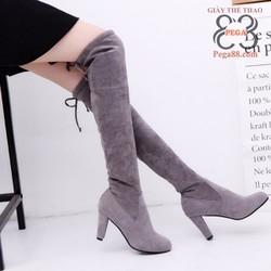 Giày Boot nữ thắt dây cổ cao 2017