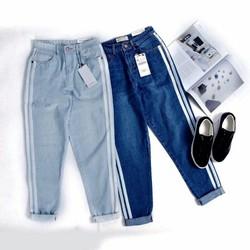 Quần jeans nữ sọc thể thao