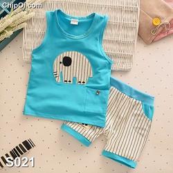 Set quần áo ba lỗ in họa tiết hình con voi cho bé trai giá rẻ