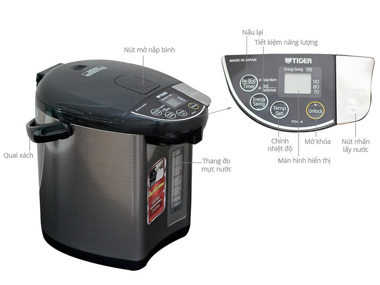 Thông số kỹ thuật Bình Thủy điện Tiger PDU-A40W 4.0 lít