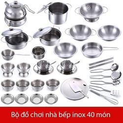 Bộ đồ chơi nấu ăn inox 40 chi tiết -...