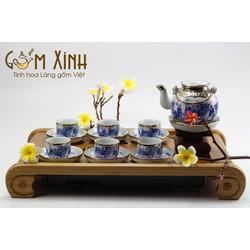 Bộ trà men Lam giáng Hồng vung lõm bọc đồng