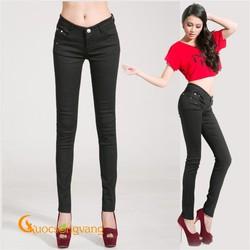 Quần kaki nữ co giãn màu đen kiểu skinny GLQ019 đen