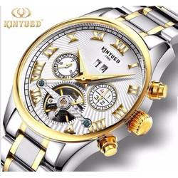 Đồng hồ cơ doanh nhân cao cấp nam Kinyued chạy full kim -Trắng la mã