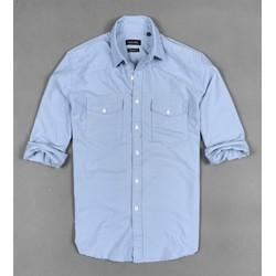 áo sơ mi nam 2 túi kiểu màu xanh da sang trọng chất vải đẹp