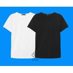 Bộ 2 áo thun trơn cotton nam, nữ giá sĩ trắng, đen