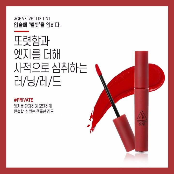 Son Kem Lì 3CE Velvet Lip Tint màu Private - Đỏ Lạnh 1