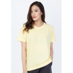 Áo phông nữ trơn cotton form rộng - Vàng nhạt